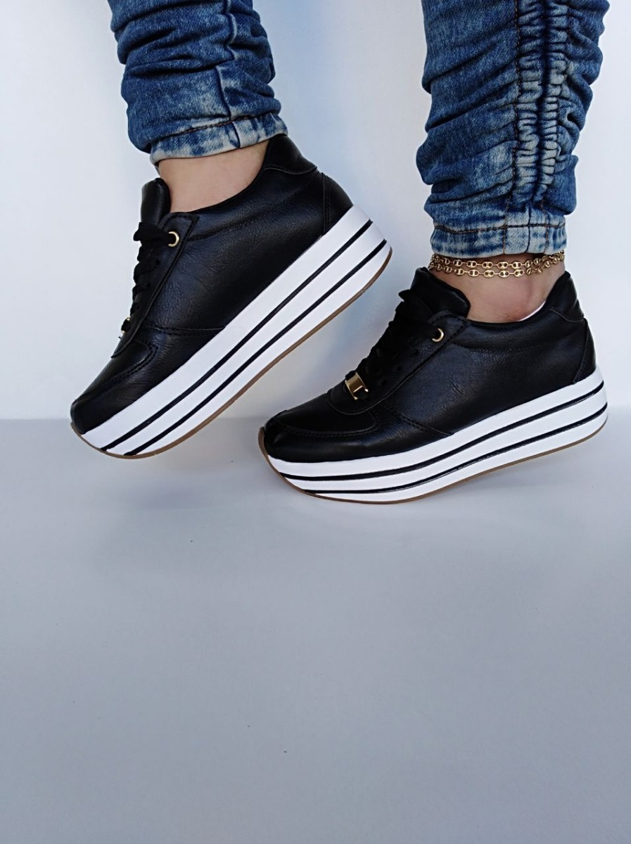Mujer83 Negros Zapatos Para Moda Suela Tenis Espectaculares 920 rQhstd