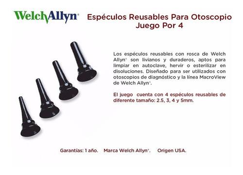 espéculos reusables para otoscopio juego por 4 welch allyn