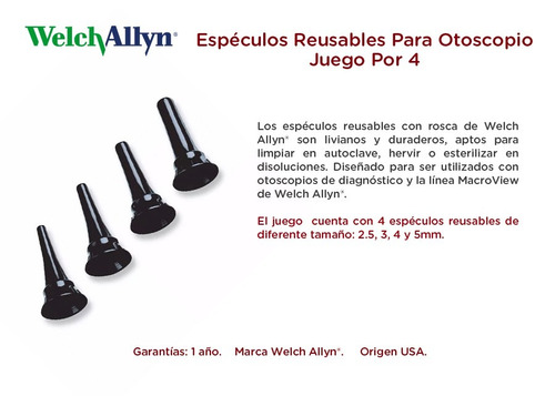 espéculos reusables para otoscopio juego por 4 welch allyn