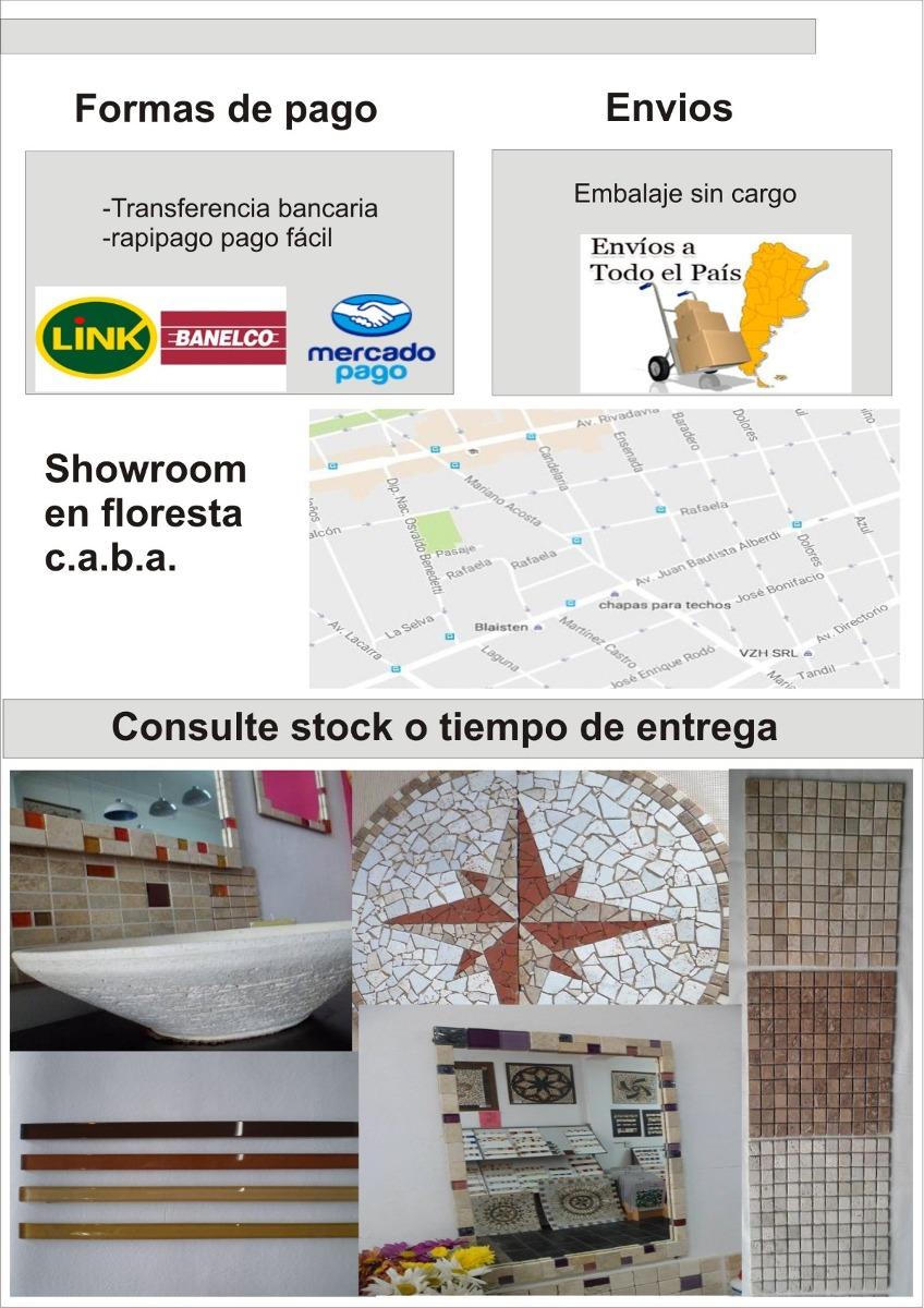 Espejo 30x60 Marco Travertino Vidrios Rojos Y Negros Oferta - $ 590 ...