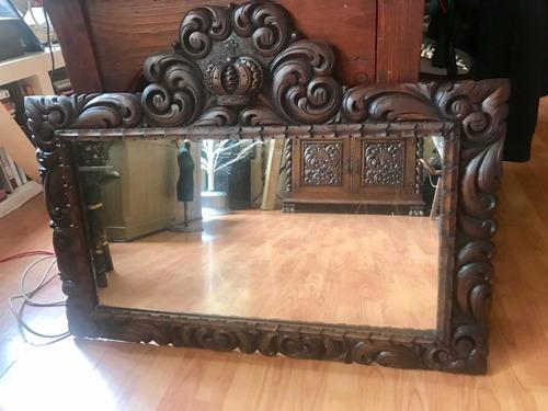 espejo antiguo colonial español cedro rojo talla a mano