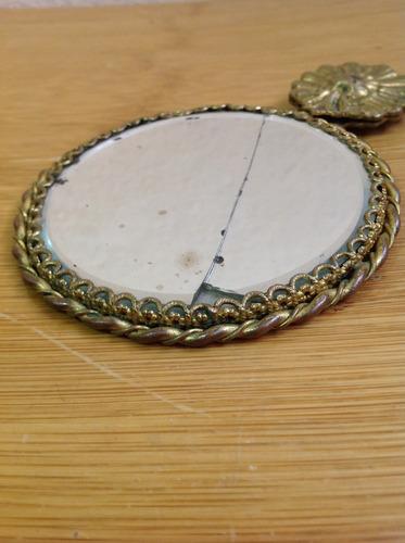 espejo antiguo de bolsillo, bronce