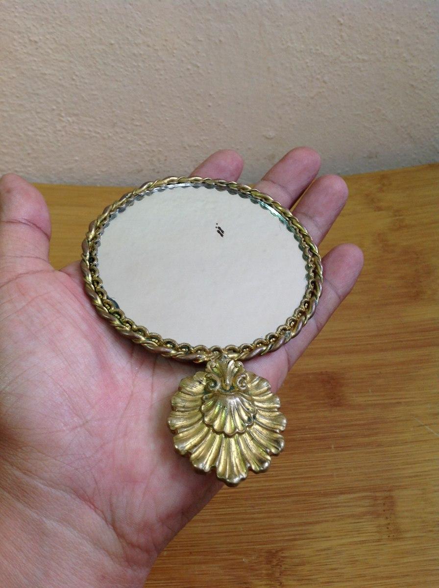 Espejo antiguo de bolsillo bronce en mercado libre - Espejo veneciano antiguo ...