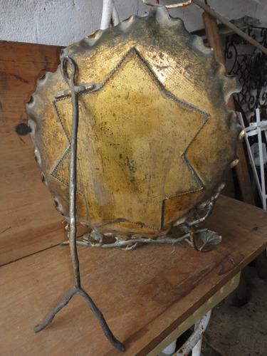 espejo antiguo de bronce un modelo rarisimo  consulte impeca