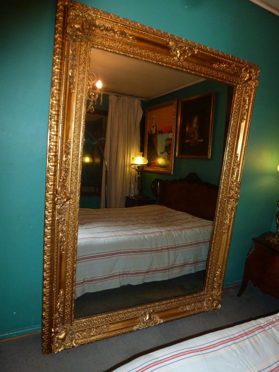 Espejo antiguo de salon dorado al oro en for Espejos horizontales para salon