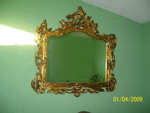 espejo antiguo estilo luis xv oro de hoja