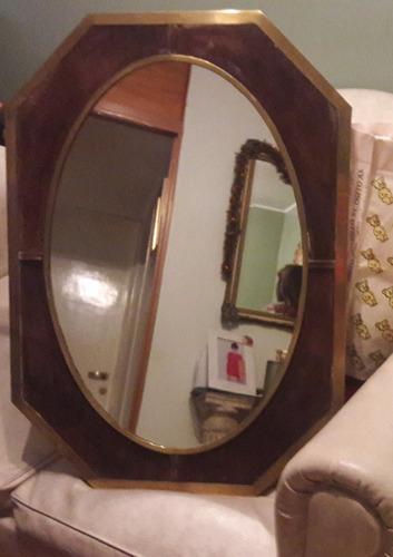 espejo antiguo marco de bronce y gamuza 76 x 55 cm  - 44