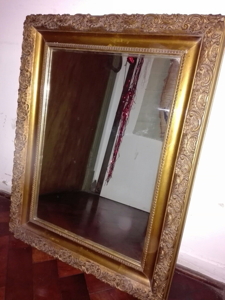 Espejo Antiguo Marco De Madera Labrado - 53 Ancho 68 De Alto ...
