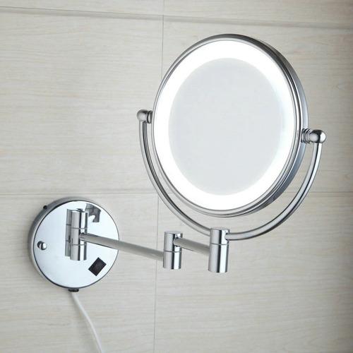 espejo aumento 5x luz led cromado doble lado baño pared 110v
