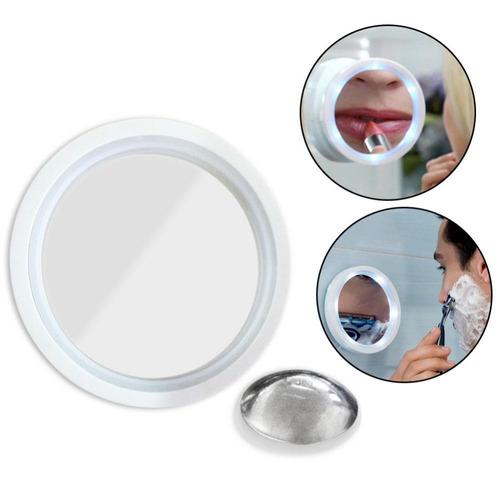 espejo baño aumento 8x swivel brite 360º led chupa vidrios