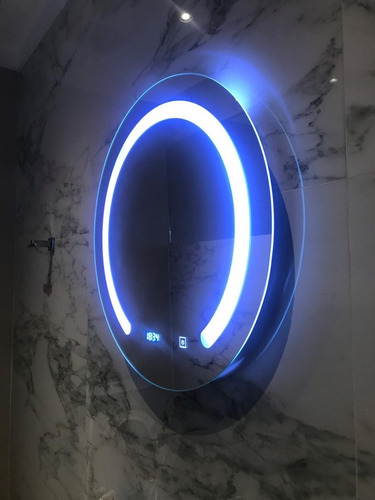 espejo baño luz led bluetooth redondo desempañador 60 cm