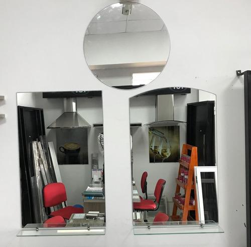 espejo baño sin marco 40x60 3mm + estante de 6mm + soportes