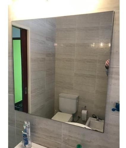 espejo baño terminacion curva sin marco 70x70 3mm + estante de 6mm + soportes