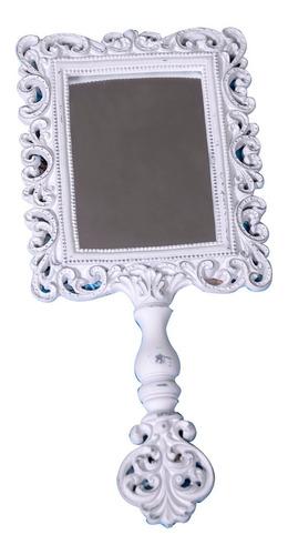 espejo blanco de mano elegante  29 x 13 cm