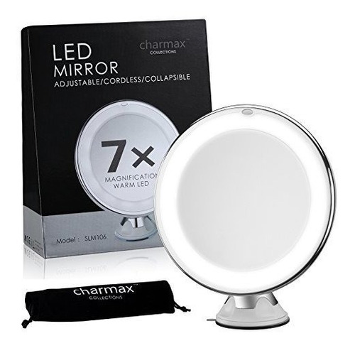 espejo charmax 7 x lupa iluminada