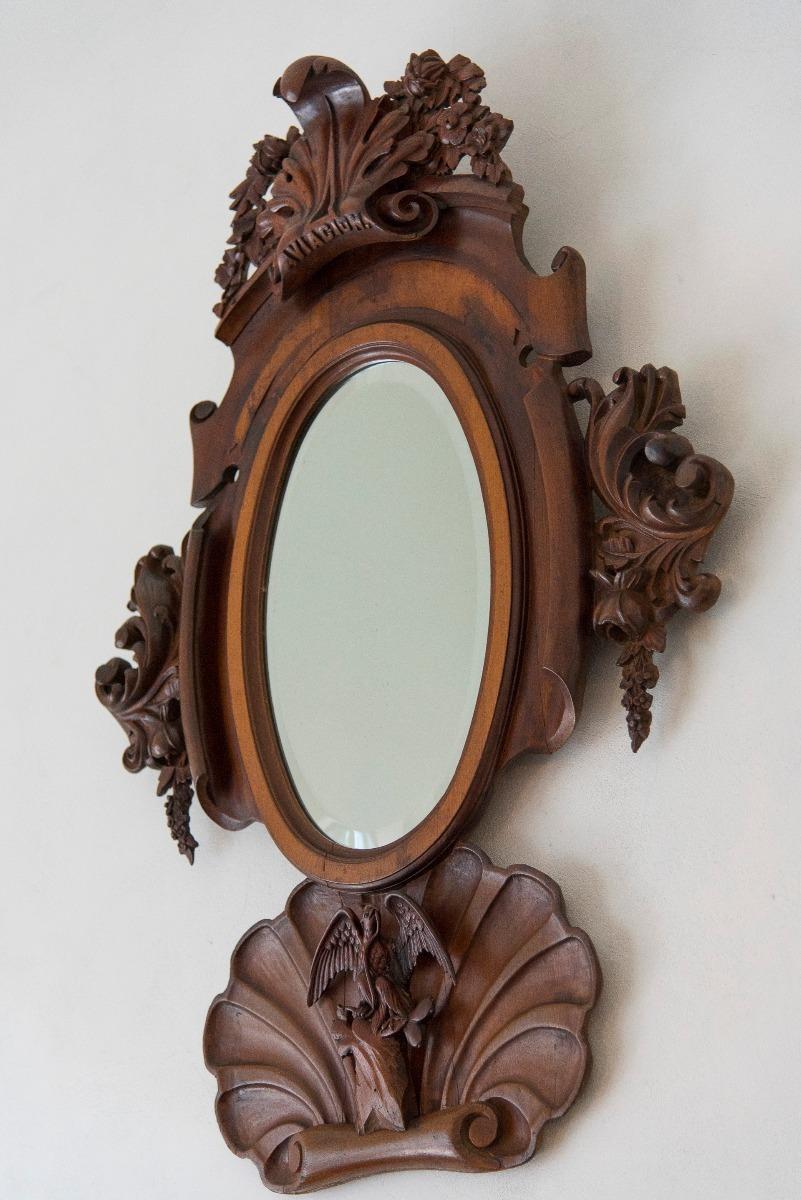 Espejo colonial mexicano en madera de cedro tallado a mano for Disenos de espejos tallados en madera
