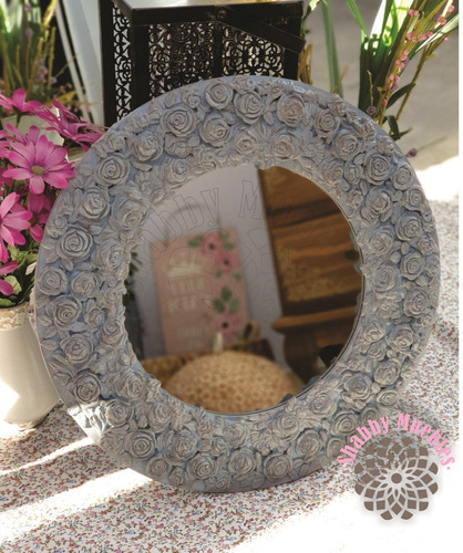 espejo con detalles de flores shabby muebles