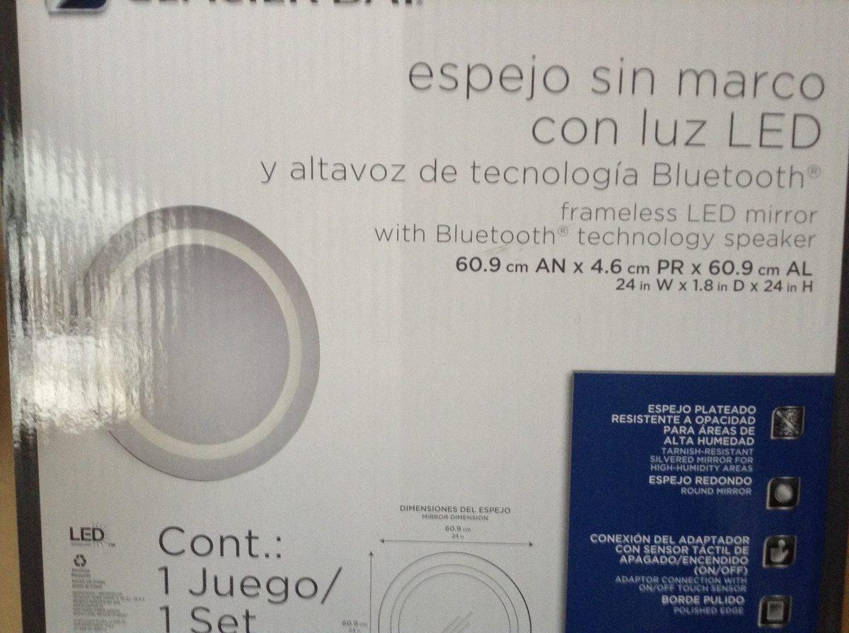 Espejo con luz led y bluetooth para escuchar m sica for Espejo retrovisor bebe con luz