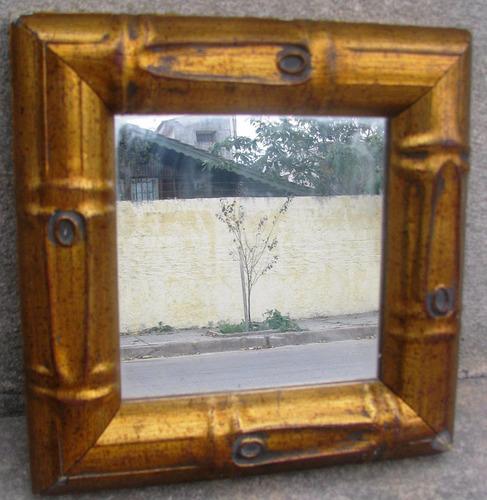Espejo con marco de madera dorado 450 00 en mercado libre for Espejos con marco en madera