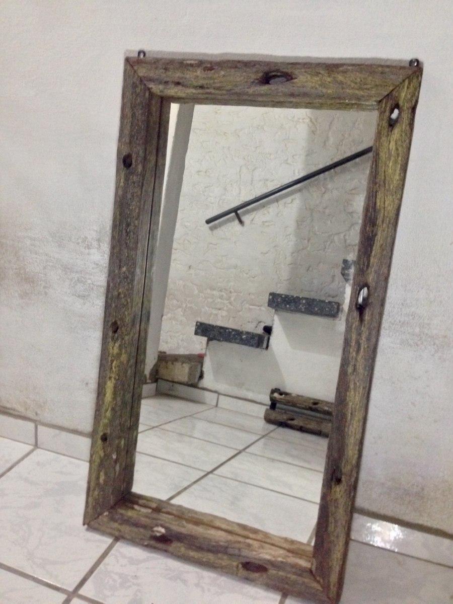 Espejo con marco de madera r stico artesanal for Espejos con marco en madera