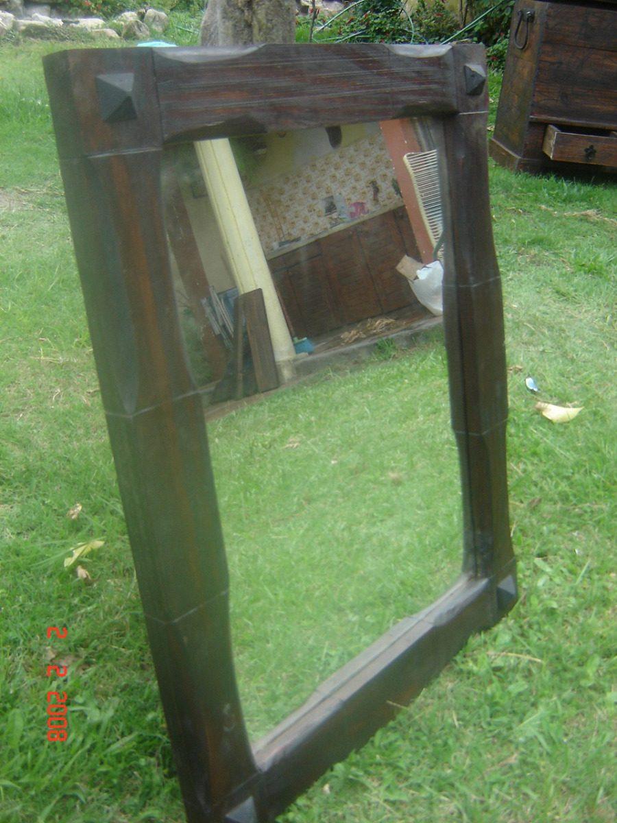Espejo con marco de madera rustico artesanal for Espejos redondos con marco de madera