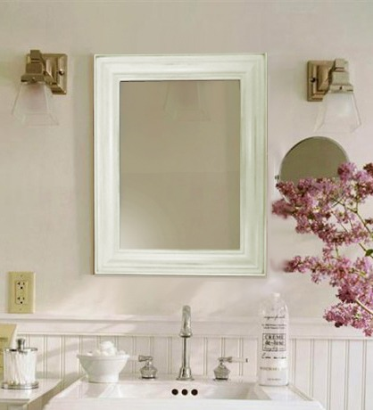 Espejo con marco de madera rustico simil pinotea apto ba o for Espejo rectangular con marco de madera