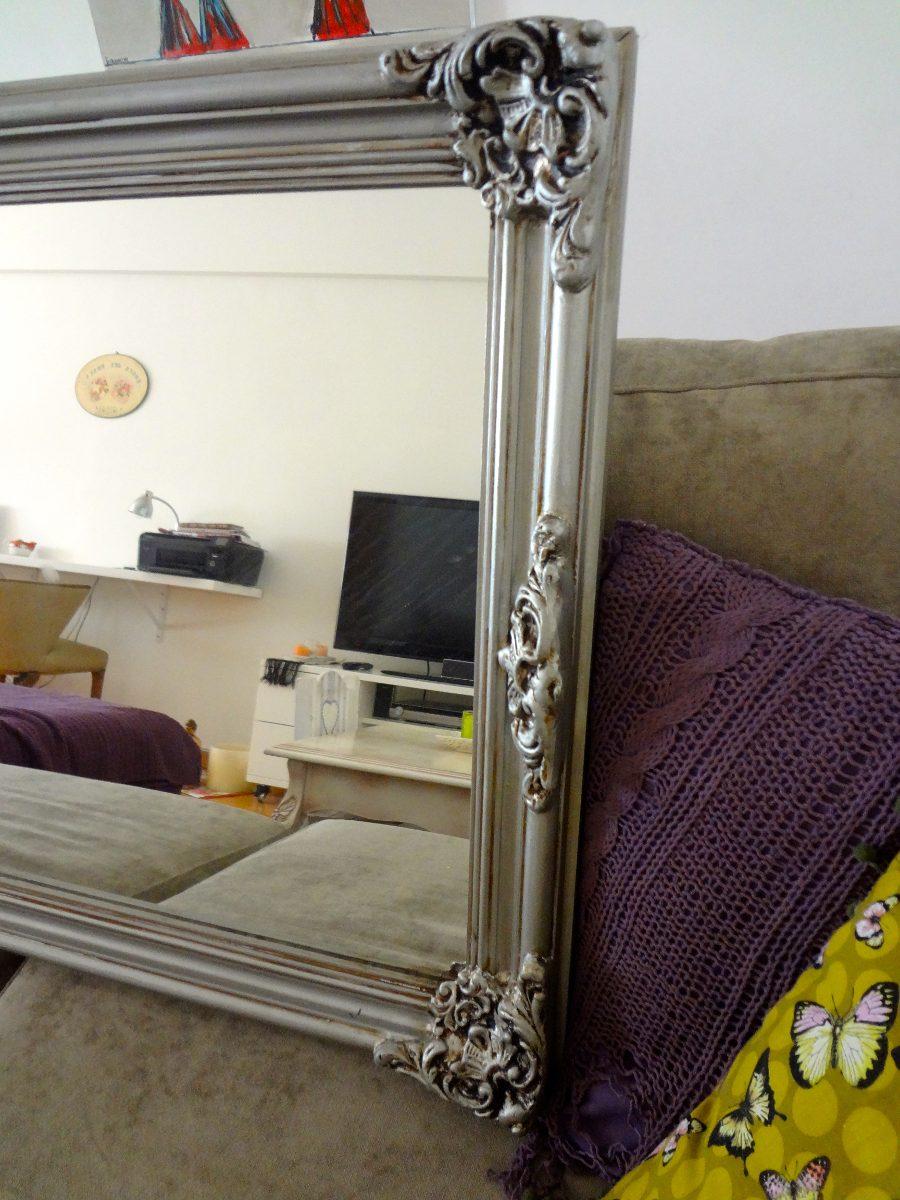 espejo con marco estilo frances en plata envejecido