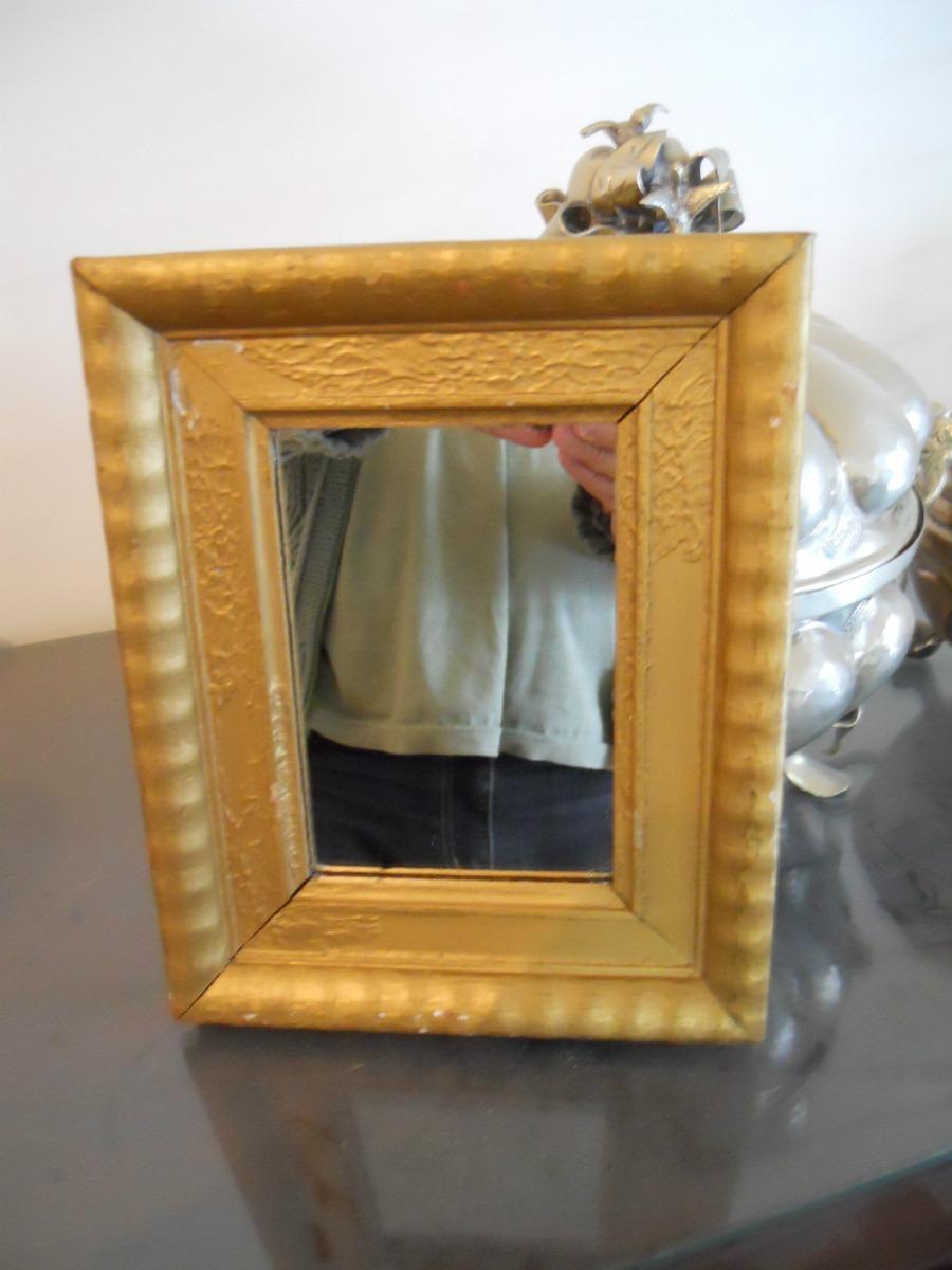 Espejo Con Marco Patinado Dorado -med Total 18x22- Esp 13x9 - $ 180 ...