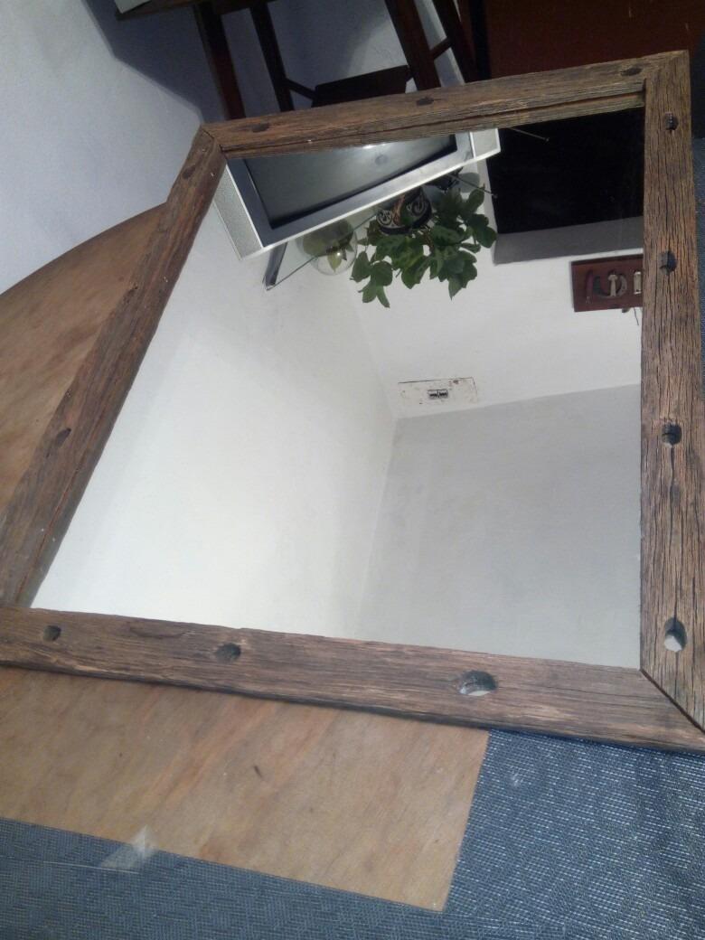 Espejo Con Marco R Stico De Piques 50 X 80 1 690 00 En Mercado  # Muebles Hechos Con Piques