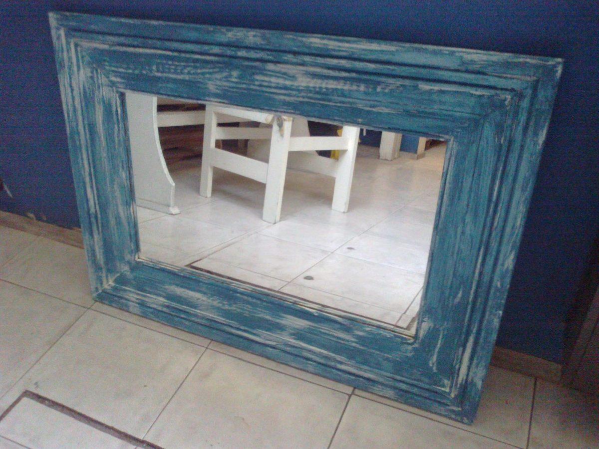 Espejo con marcos de madera reciclada en for Espejos redondos con marco de madera