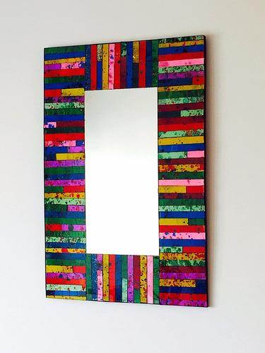 espejo con venecitas redondo 60cm / baño, living, comedor