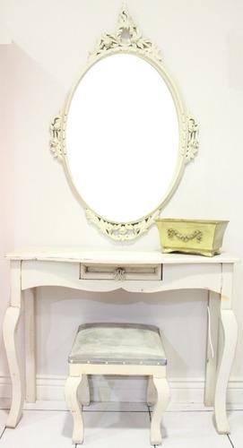 espejo consola y taburete luis xv estilo shabby chic