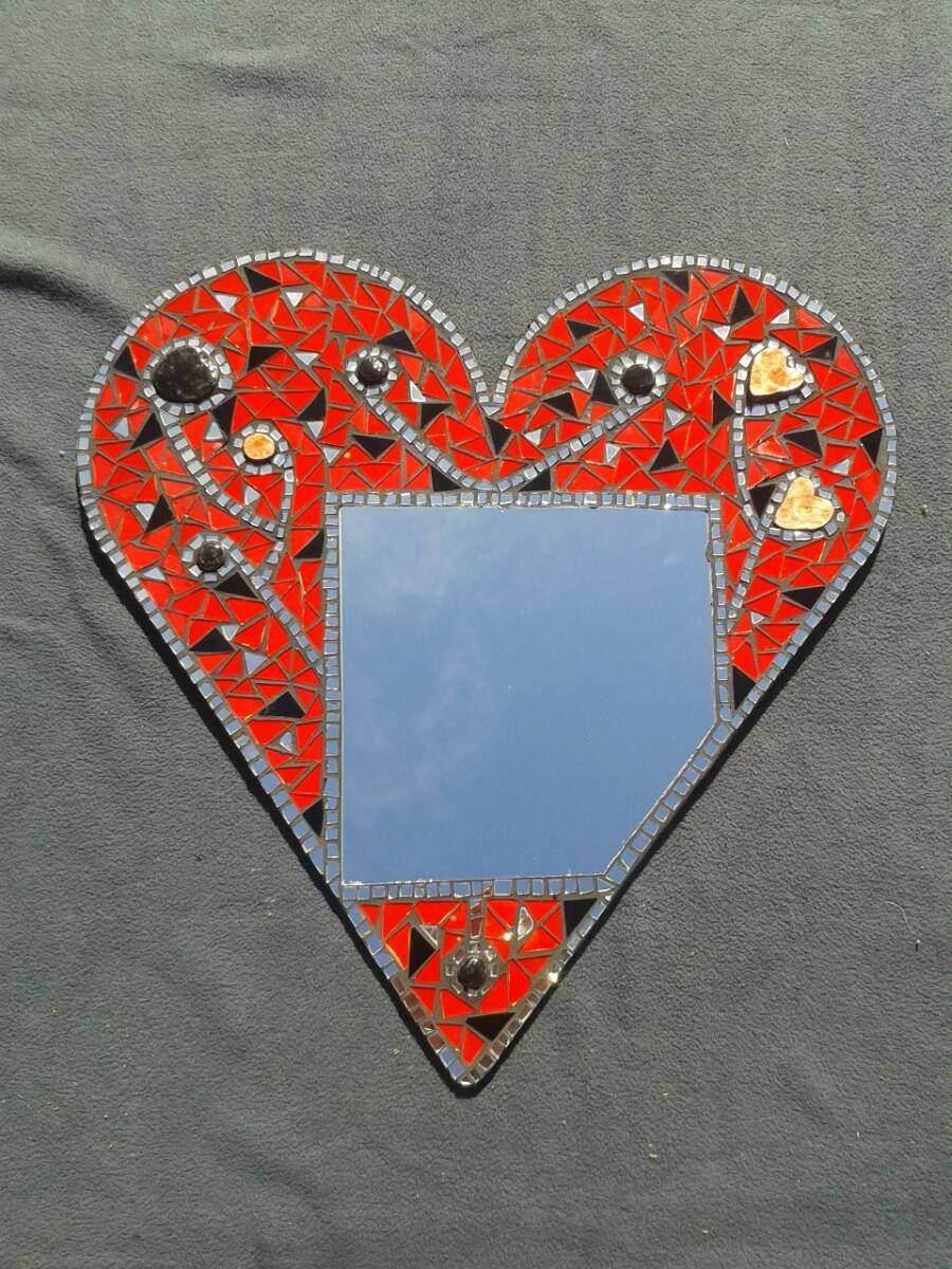 espejo corazon mosaico