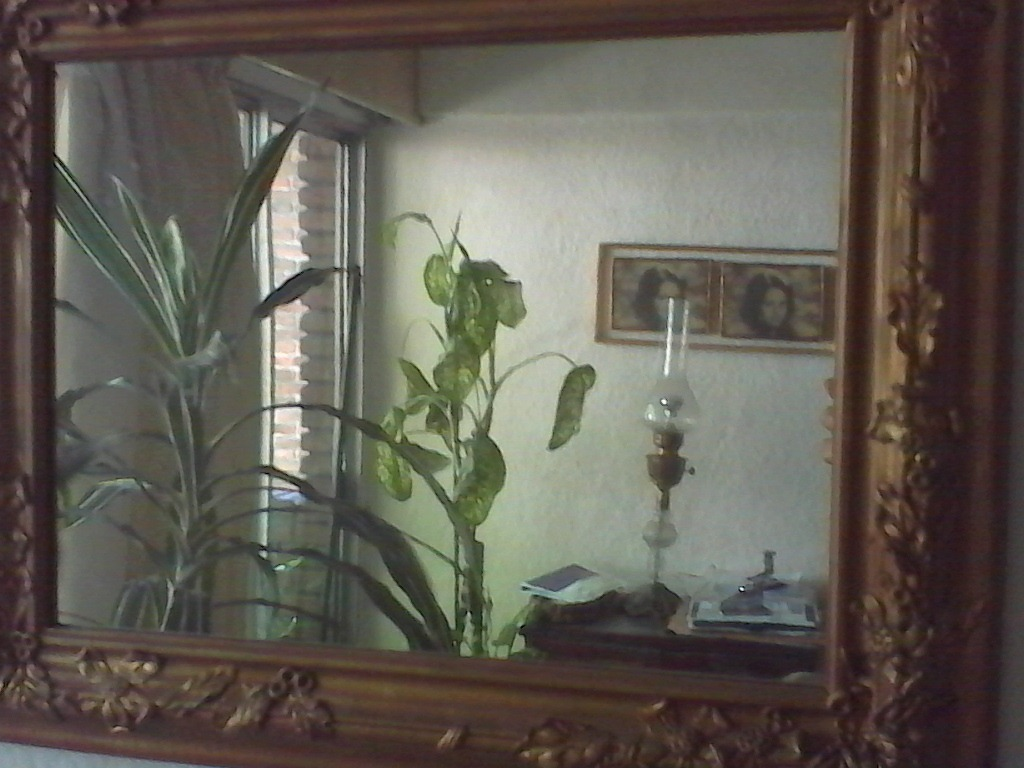Espejo cristal antiguo marco madera ancho dorado for Espejo marco cristal
