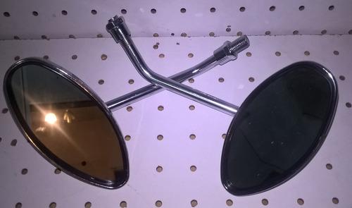 espejo custom regulable ovalado cromo (set) motos comics