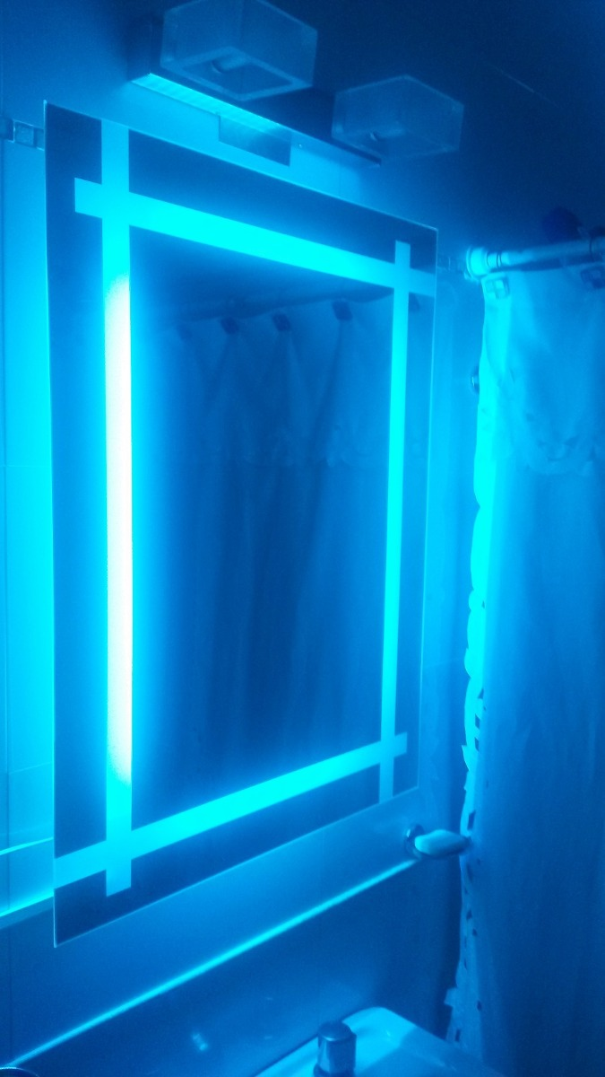 espejo de bao con luz led rgb diseo a medida led deco rgb