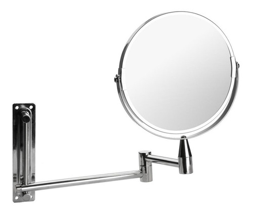 espejo de baño metálico extensible cromado dos caras 15 cm