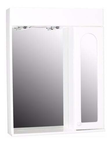 espejo de baño minda 60x78 botiquín puerta, estante y luces