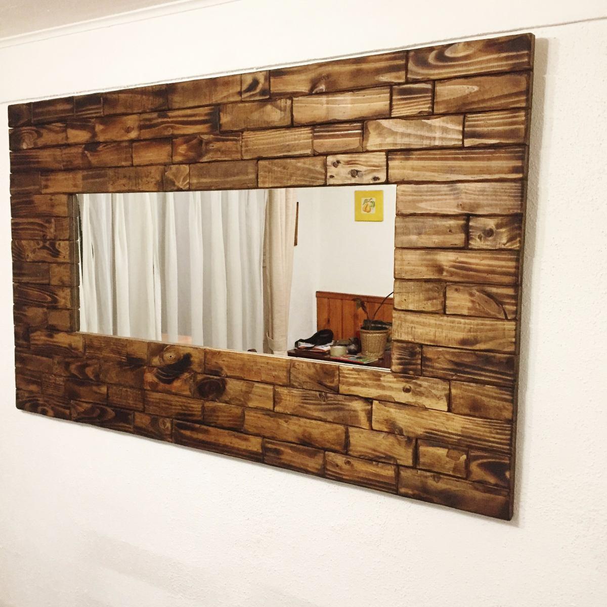 Espejo de madera rustico 140x80 aprox en for Espejo pared madera