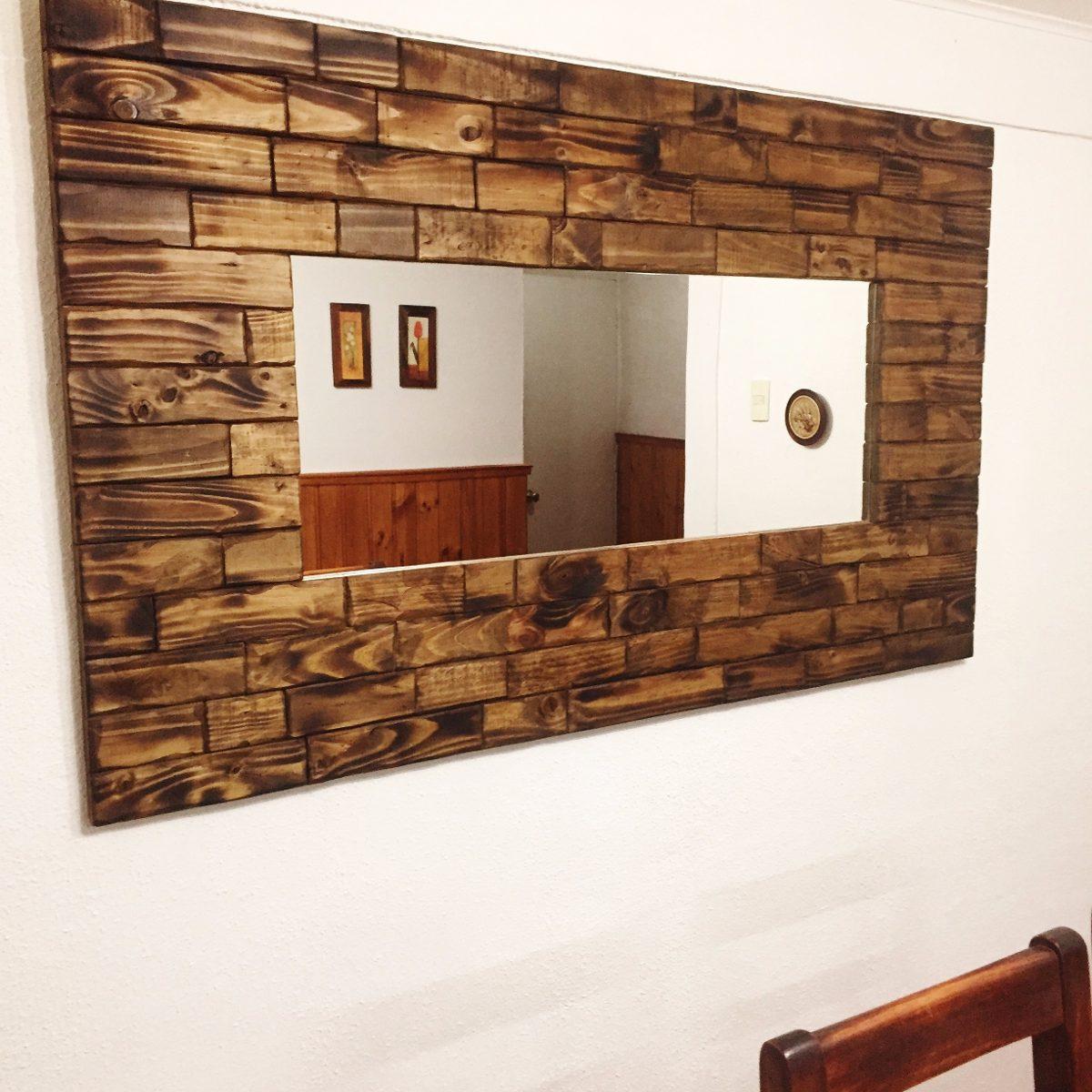 Espejo de madera rustico 152x92 aprox en for Espejos redondos de madera