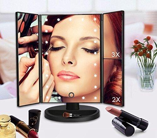 espejo de maquillaje tríptico plegable luz led envió gratis