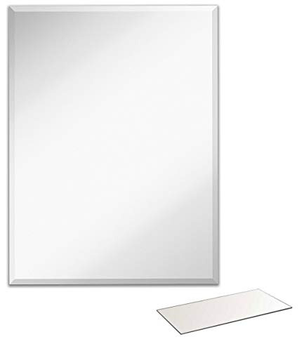 espejo de pared rectangular claro con borde biselado - panel