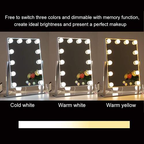 espejo de tocador iluminado blanco, 12 bombillas led, táctil