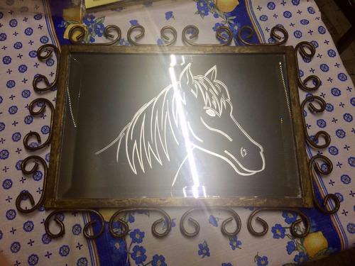 espejo decorativo para bar (grabado herrería)