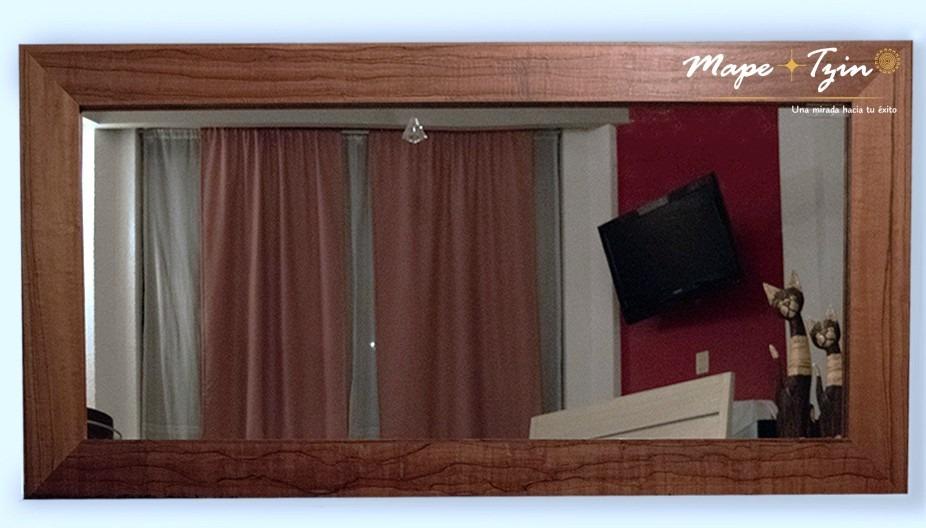 Espejo Decorativo Sala Comedor Marco De Madera Manzano