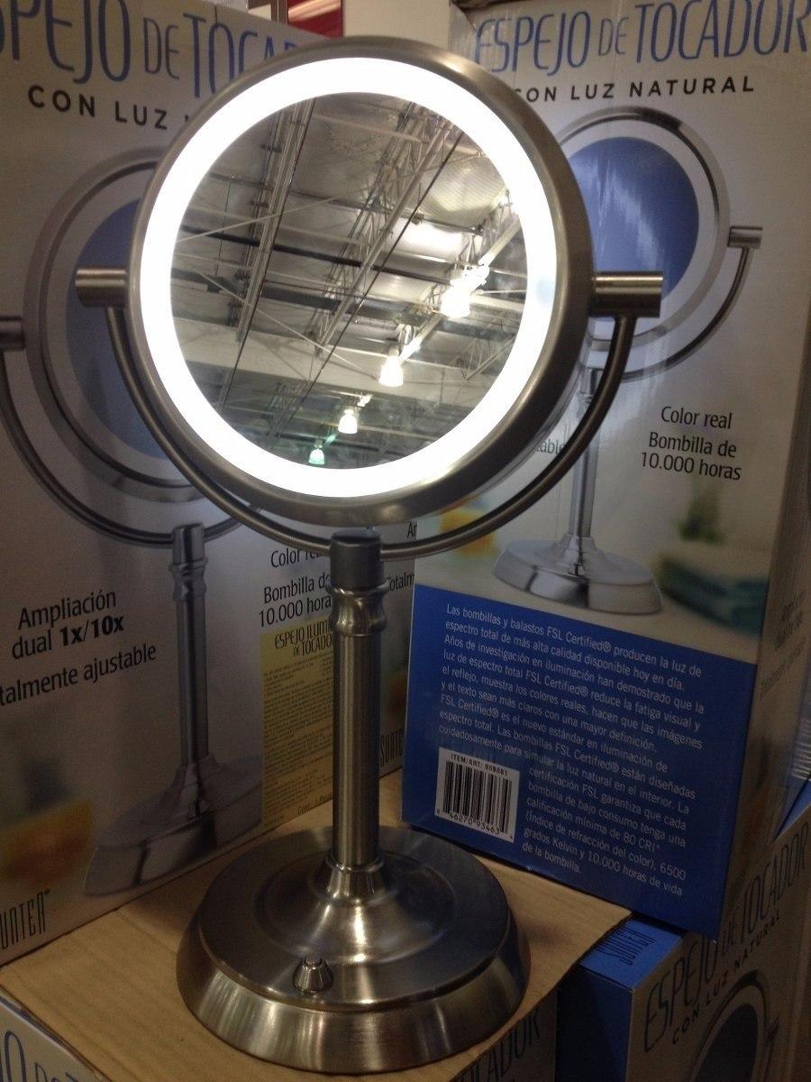 Espejo doble con luz para maquillaje con aumento 10x for Espejo aumento con luz