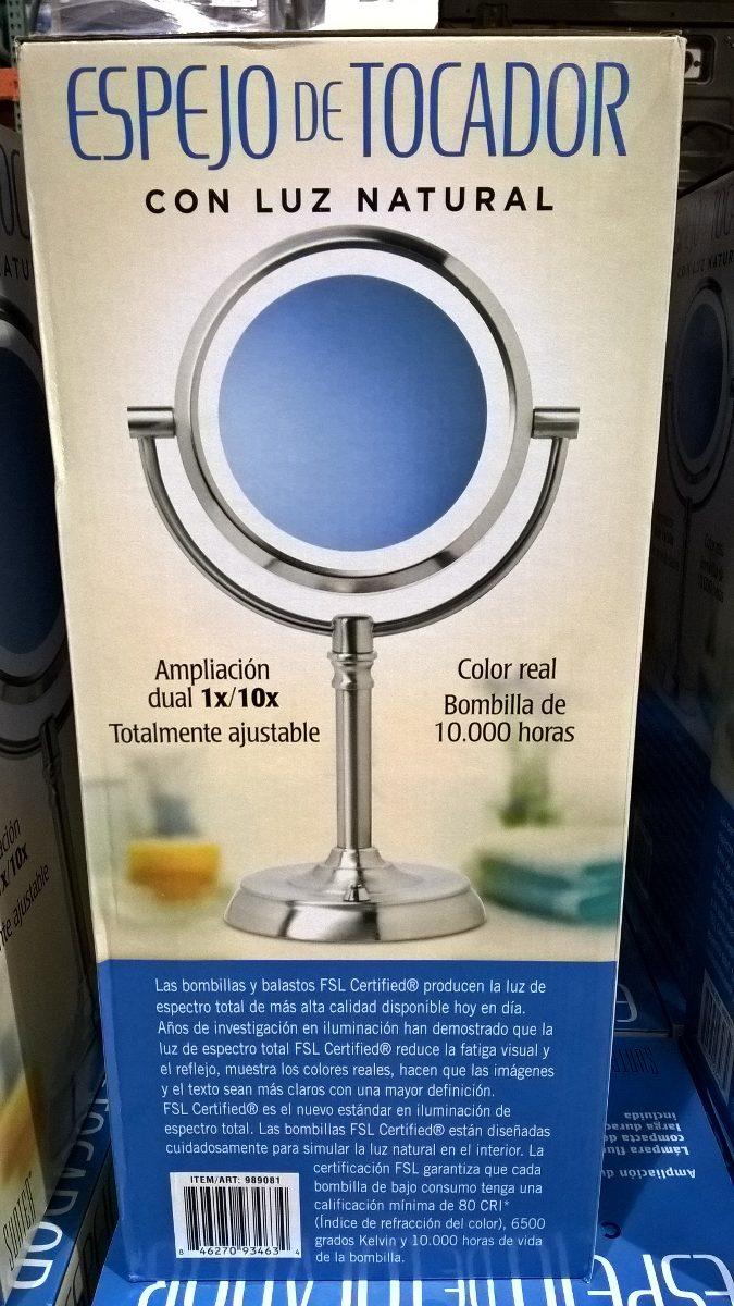 Espejo doble con luz para maquillaje con aumento 10x for Espejo retrovisor bebe con luz