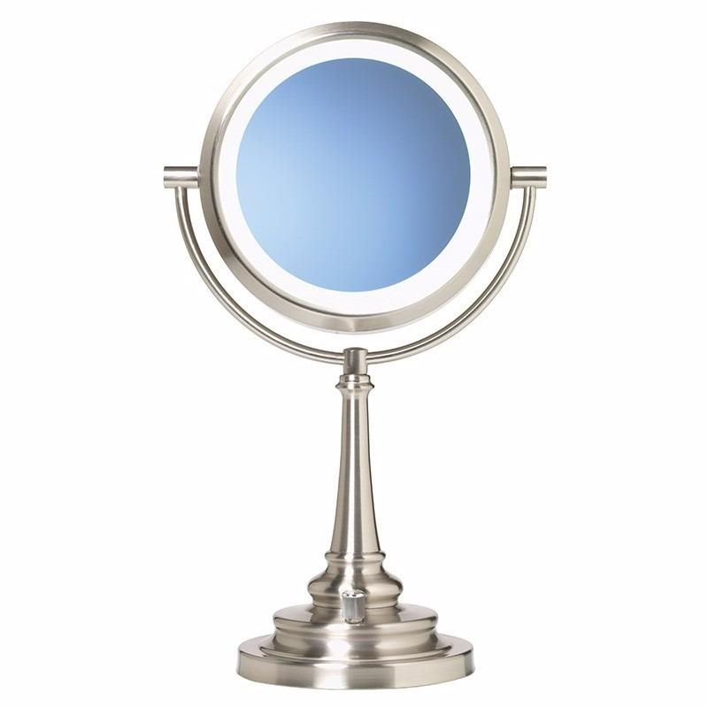 Espejo doble de tocador maquillaje con aumento 10x luz led for Espejo de aumento con luz