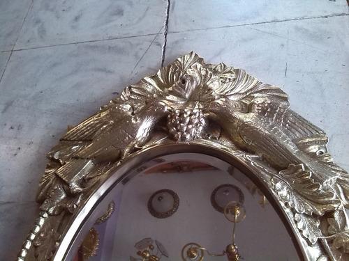 espejo en bronce macizo 8 kilos tallado frances de palomas