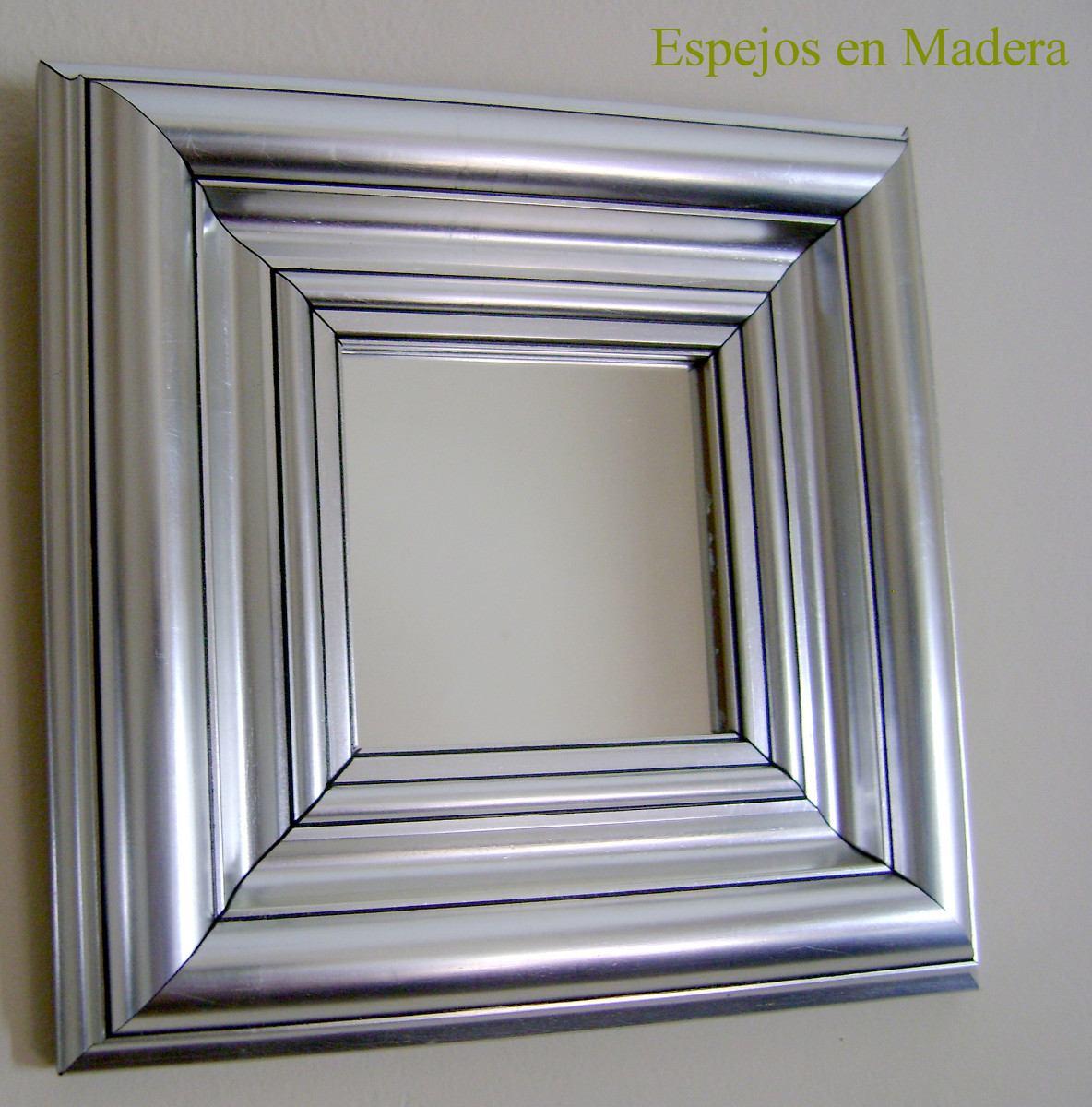 espejo en madera plateado decorativo en y cm x